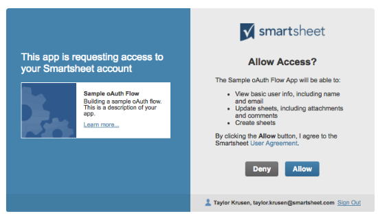 Allow access to Smartsheet data